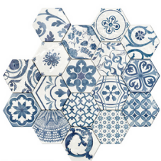 delfts blauw hexagon patchwork